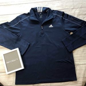 Adidas Mens Large Navy Blue 1/4 Zip Pullover